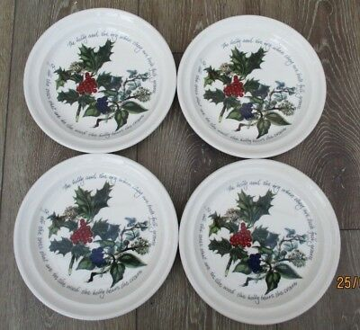 """Portmeirion Holly & The Ivy Large Sandwich / Salad Plates 8.5"""" x 4 - used once"""
