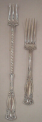 """2 Silver Plate Forks """"Warwick"""" 1-Pickle 1-Salad 1901 by WM A Rogers GORGEOUS!"""