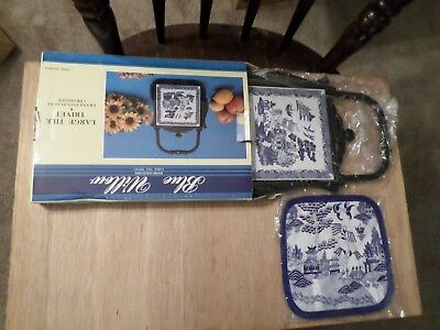 Blue Willow Tile Trivet Cast Iron Pantry Collection Heritage Mint,1997 + Hot Pad