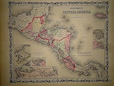 Vintage 1861 CENTRAL AMERICA  MAP Old Antique Original Atlas Map 40218