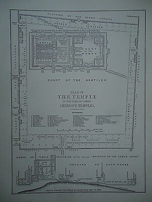 Vintage 1896 THE TEMPLE - HEROD'S TEMPLE MAP Old Authentic Antique Map 96/70318