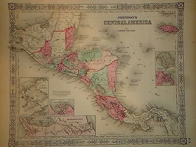 Vintage 1865 CENTRAL AMERICA MAP Old Antique Original Atlas Map 41418