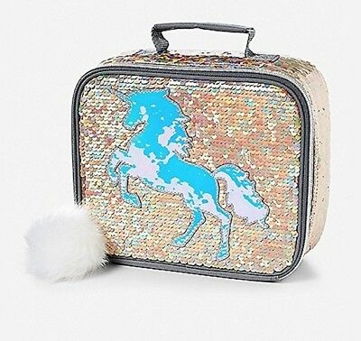 Justice Girls Unicorn Flip Sequin Lunch Tote   NWT