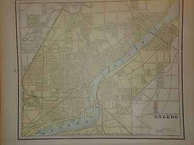 Vintage 1891 Toledo Map ~ Old Antique Atlas Map Free S&h 1891/032717