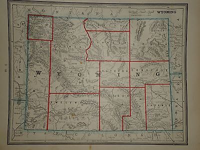 Vintage 1891 Wyoming Map ~ Old Antique Atlas Map Free S&h 1891/032717