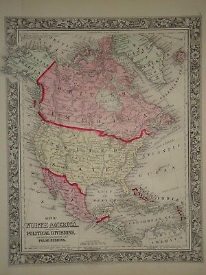 Vintage 1860 ~ NORTH AMERICA MAP ~ Old Antique Original  Atlas Map 082417