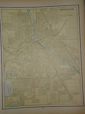 Vintage 1891 Minneapolis Map ~ Old Antique Atlas Map Free S&h 1891/032717