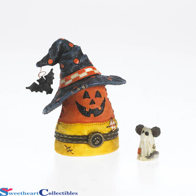 Boyds Bear Halloween Candy Corn Jackies's With Witches Hat Treasure Box NIB