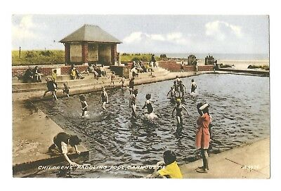 Carnoustie - a colour-added, photographic postcard of Children's Paddling Pool