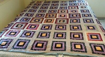 """ANTIQUE LOG CABIN QUILT~hand quilted- SILK FABRIC~77 X 67"""""""