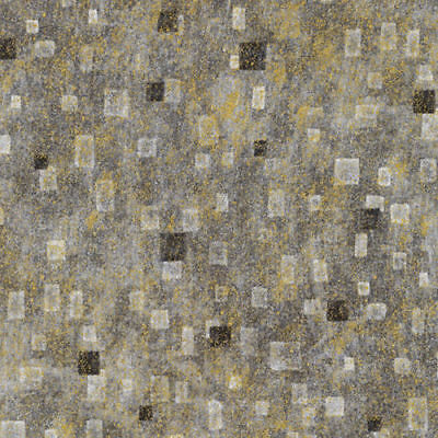 Kaufman G Klimt Grey Gray Charcoal Gold Square Gilded Fabric BTY 17181-184