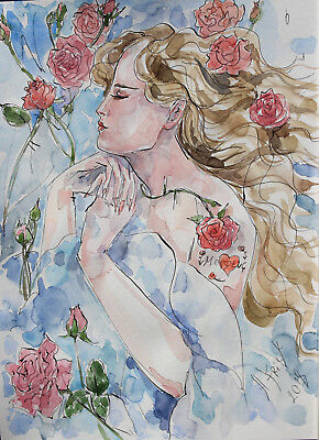 "Aquarell Tusche signiertes Original ""Dornröschen"" Sleeping Beauty Illustration"
