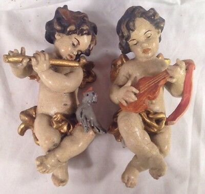 Pair Antique Hand Carved Wooden Wall Angel/ Cherub/ Putti Musicians Lute Flute 2