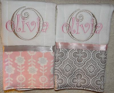 2 Pink and Grey Floral Personalized Embroidered Burp Cloths Great Gift Idea!