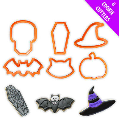 6pc Halloween Spooky Plastic Cookie Cutters Bat Witch Pumpkin Cat Shape Biscuit