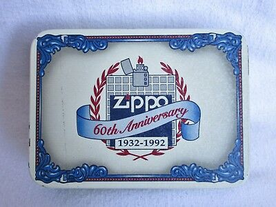 Vintage Zippo 60th anniversary lighter tin  holder case with paper. NO LIGHTER