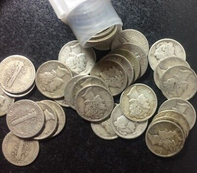 50 Count Roll Of 1938-D Mercury Silver Dimes ~ Good-Fine