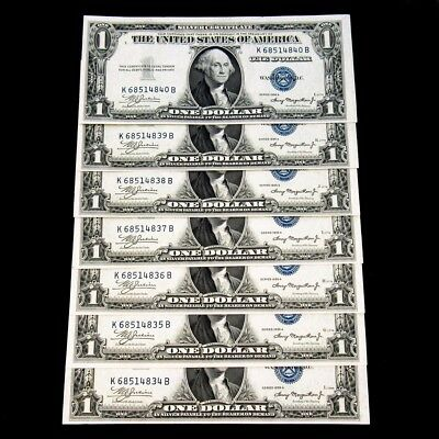 7 Consecutive 1935-A $1 Silver Certificate - Choice About UNC+ - FR#1608