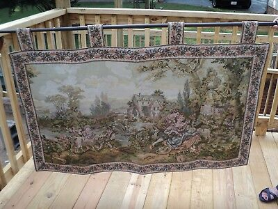 Victorian - - Courting Couple/Children & Sheep - Tapestry Wall Hanging