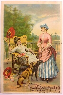 "Household Sewing Machine Victorian Trade Card ""Most Reliable, Most Beautiful"""