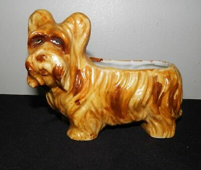 """Vtg SKYE SILKY TERRIER Pottery/China Planter 5.25"""" x 4"""" Made in Japan"""