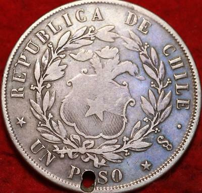 1853 Chile 1 Peso Silver Foreign Coin