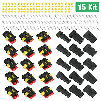 15Kits 2+3+4 Pin Way Car Super Seal Waterproof Electrical Wire Connector Plug US