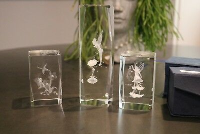 3 Crystal 3D Laser Etched Fairy paperweights! Tinkerbell, Sprite on Swing....