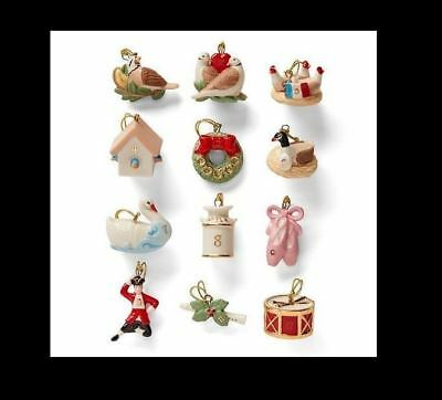 LENOX 12 DAYS of CHRISTMAS miniature Tree Ornaments set NEW in BOX twelve mini