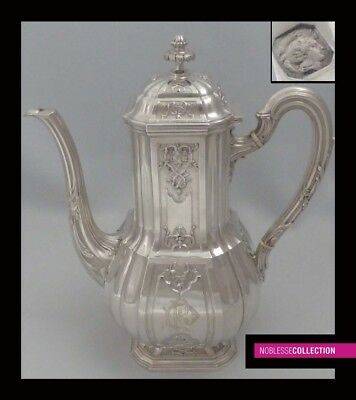 PUIFORCAT LUXURIOUS ANTIQUE 1880s FRENCH STERLING SILVER TEA/COFFEE POT Regency