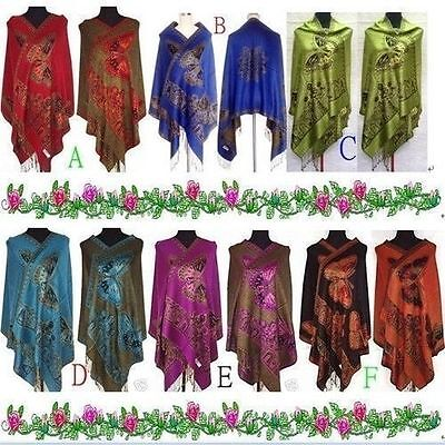 Fashion-New-Chinese-Lady-Double-Side-Butterfly-Pashmina Scarf Wrap shawl cape