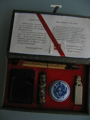 Chinese Calligraphy Set Brushes Ink Stone Carved Seal Boxed Lined Silk Velvet