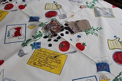 Vintage Cotton Kitchen Tablecloth 48x54 Items for the Barbecue!
