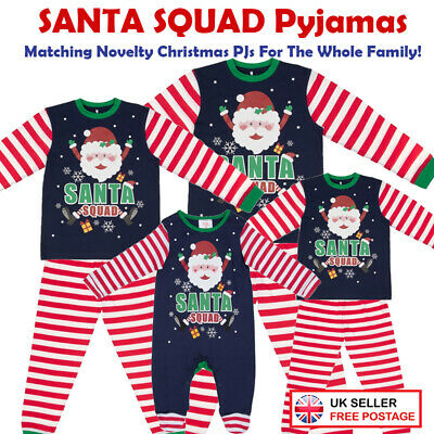 Santa Squad PJs Matching Family Christmas Elf Pyjamas Mum Dad Baby Kids Newborn