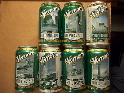 NEW Set of 7 - 12 oz. 2018 VERNORS Michigan Lighthouse Soda Pop Cans FREE SHIP