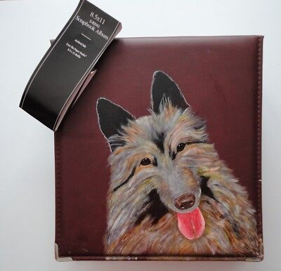 Belgian Tervuren Dog Burgundy Photo Album hand painted by me for  8 x 11 photos