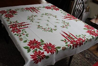 Vintage Cotton Christmas Tablecloth 46x52 Pine Holly Candles +++