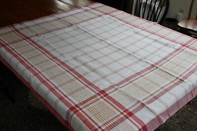 Vintage Red & Yellow Plaid Tablecloth 44x46