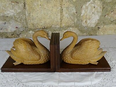 Wonderful Antique Pair Finely Hand Carved Wood Swans Bookends