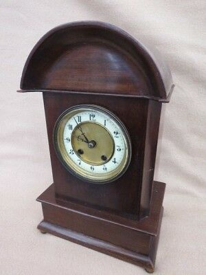 Antique Mahogany Dome Topped Hac Striking Mantel Clock