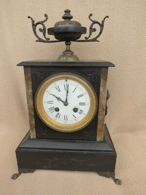 Antique S Marti French Black Slate 8 Day Bell Strike Mantel Clock For Tlc