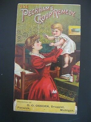 Victorian Trade Card RARE O.O. Osborn Fenwick MI Mother Baby Peckham Croup 15