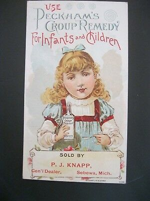 Victorian Trade Card RARE Peckham's Croup P.J. Knapp Sebewa MI PRETTY Girl 15