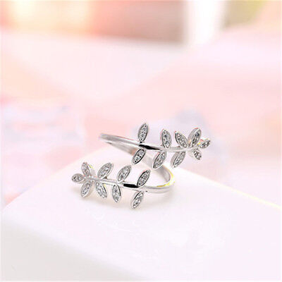 Charms Olive Tree Branch Leaves Open Ring for Women Girl Adjustable Ring CB