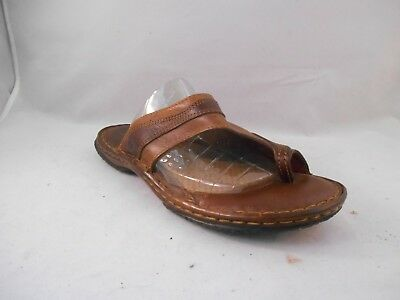 cc076739b55a Born Two-Tone Brown Leather Slide Sandals w  Toe Loop Women s Size 9 M