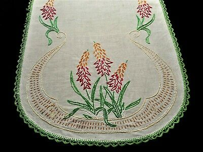 Vintage 1950s Floral Wild Flower Hand Embroidered Crochet Lace Trim Table Runner