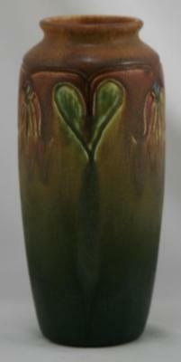 """Rookwood Carved/Painted Mat 7"""" Vase Blossoms/Heart-Shaped Leaves 1918 By Lincoln"""