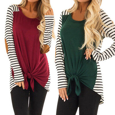 1pc Women Casual Stripe Bow Tie Blouse Shirt Long Sleeve Stitching Pullover Tops