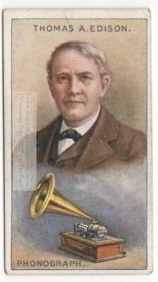 Thomas Edison American Inventor Phonograph Lightbulb  90+ Y/O Trade Ad Card