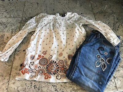 Cute Girls Baby Gap Flower Jeans Shirt Set Outfit Size 4T 4 Toddler Embroidered